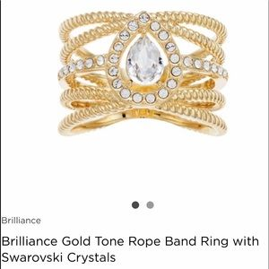 Jewelry - Gold Tone Rope Band Ring with Swarovski Crystals